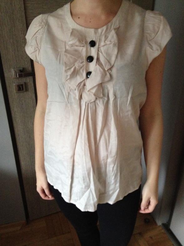 H&M zwiewna bluzka z żabotem 44