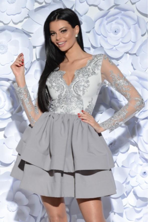 e6d2495b367149 Efektowna sukienka koronkowa rękaw szara w Suknie i sukienki - Szafa.pl