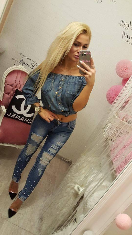 Codzienne love jeans perły dziury rurki