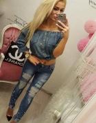 love jeans perły dziury rurki