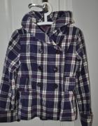 Fioletowa kurtka w kratę rozmiar S