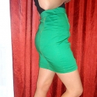 zielona ołówkowa spódniczka z zamkami S Attentif