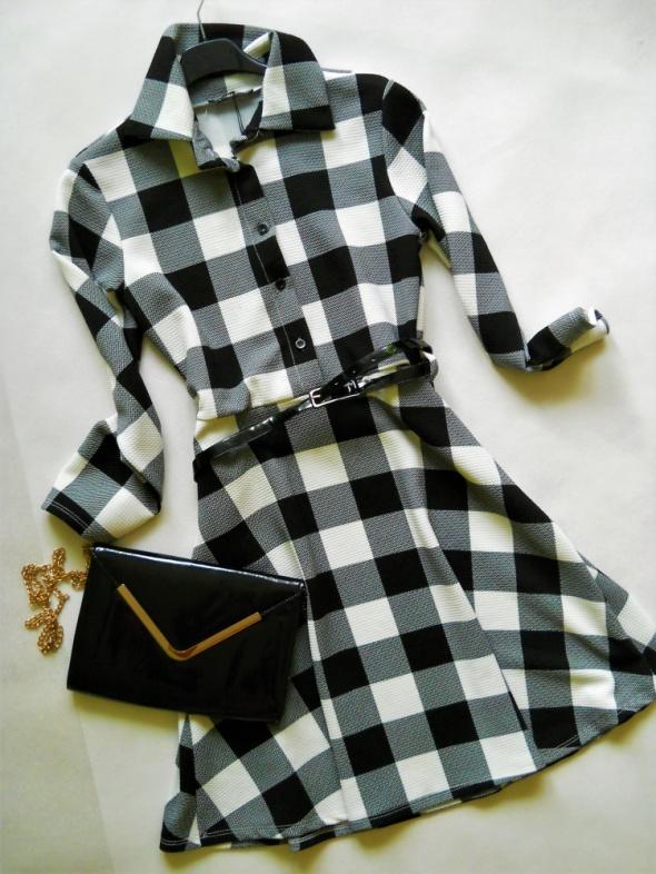 nowa krata sukienka pasek