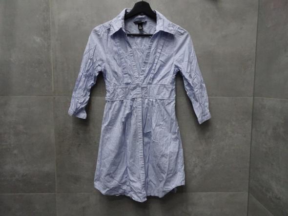 7122a2a7dd35a1 Koszule Koszula długa tunika w paski pasiak baby blue błękitna baby doll H&M  XS