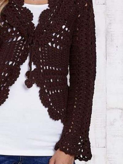 Ażurowy sweterek z wiązaniem koronkowy bawełna