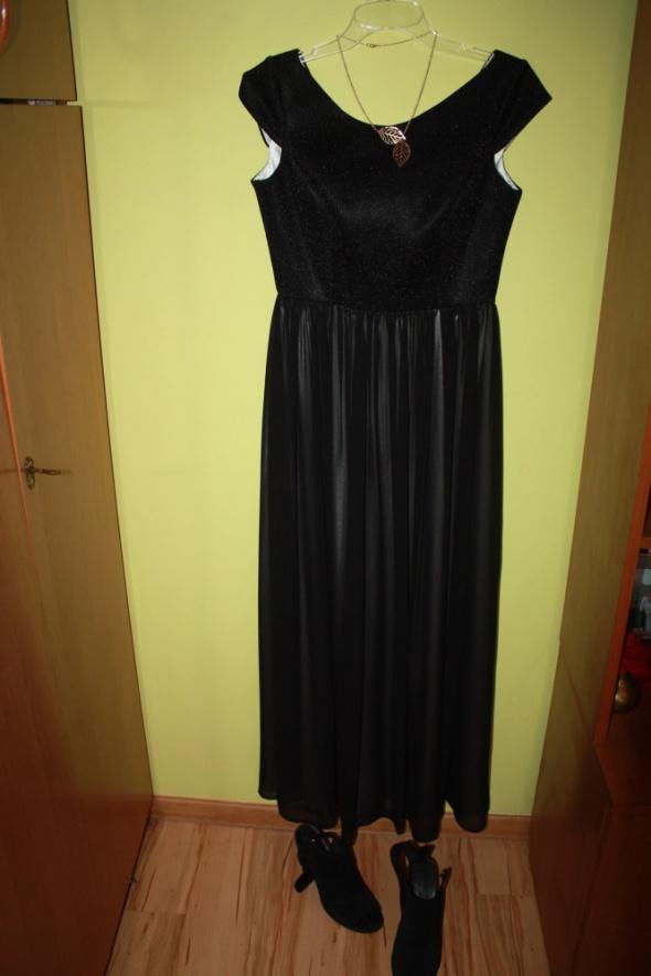 Ekskluzywna długa czarna suknia black dress b&b
