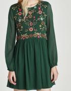 Zielona sukienka ZARA plumeti haft kwiaty...