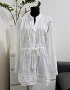 biała gnieciona tunika z wiązaniem Queen