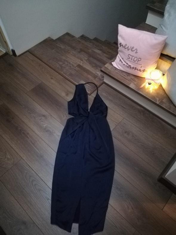 Nowa granatowa sukienka Asos dekold odkryte plecy wycięcia Xs S...