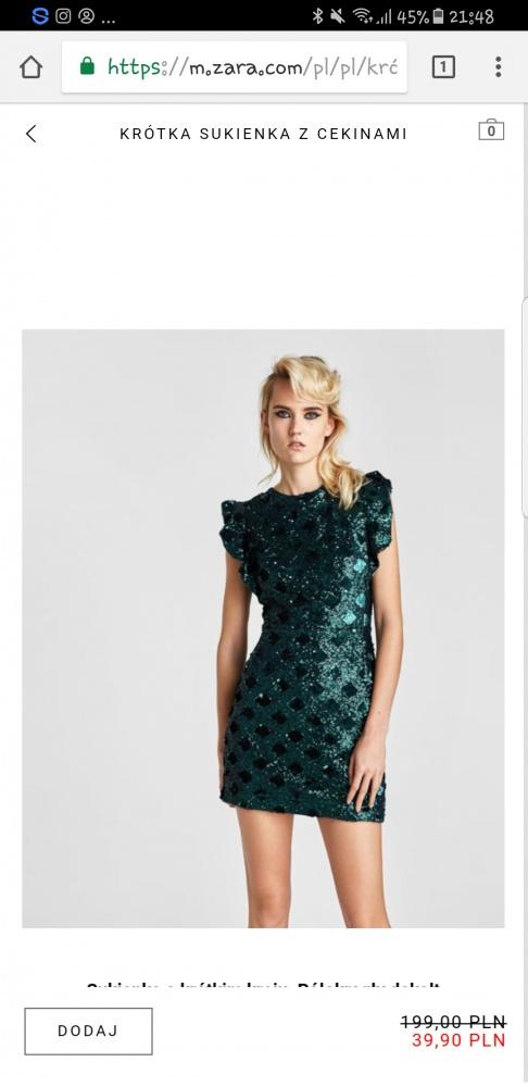 sukienka zara zielona cekiny