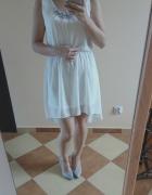 Biała sukienka mini midi asymetryczna 36 38 el...