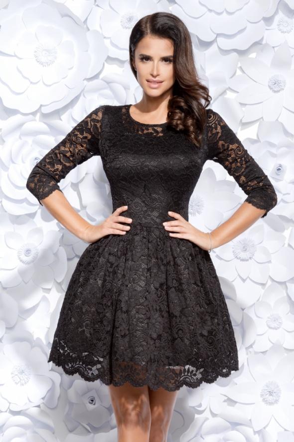 f2da97c80c Efektowna sukienka koronkowa rękaw S 36 czarna w Suknie i sukienki ...