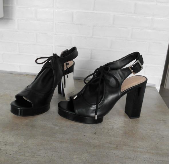 8b5b415b Sandały Zara nowe czarne skórzane sandały na słupku skóra platformy