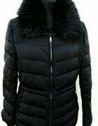 ZARA czarna kurtka pikowana z futerkiem