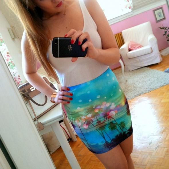 Spódnice Kolorowa bandażowa spódnica Cropp palmy XS