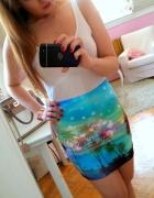 Kolorowa bandażowa spódnica Cropp palmy XS...