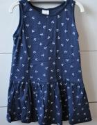 Śliczna granatowa sukienka w kotwice...