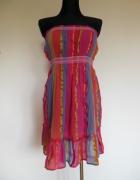 TU sukienka tunika w paski różowa