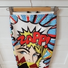 Kolorowa wzorzysta spódnica midi wysoki stan komiks S