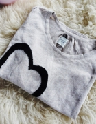 Sweter beżowy nude serce Reserved XS