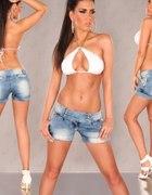 jeans spodenki koronka biodrowki VINTAGE M 38...