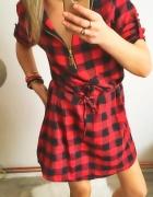 Czerwona sukienka Damska w kratkę rozmiar M