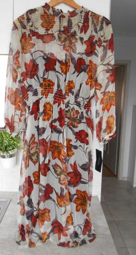 Zara nowa midi sukienka malowane kwiaty zwiewna mgiełka w