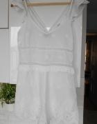 Topshop nowy biały kombinezon krótki letni gipiura koronka