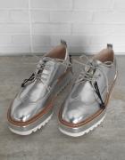 Zara nowe srebrne oxford koturny metaliczne 38