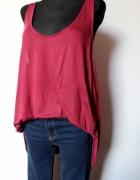 Bordowa asymetryczna koszulka r XL