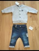 Nowy komplet dla chłopca bluza bejsbolówka pikowana i jeansy sp...