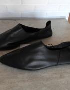 Zara nowe skórzane czarne baleriny skóra naturalna balerinki szpic