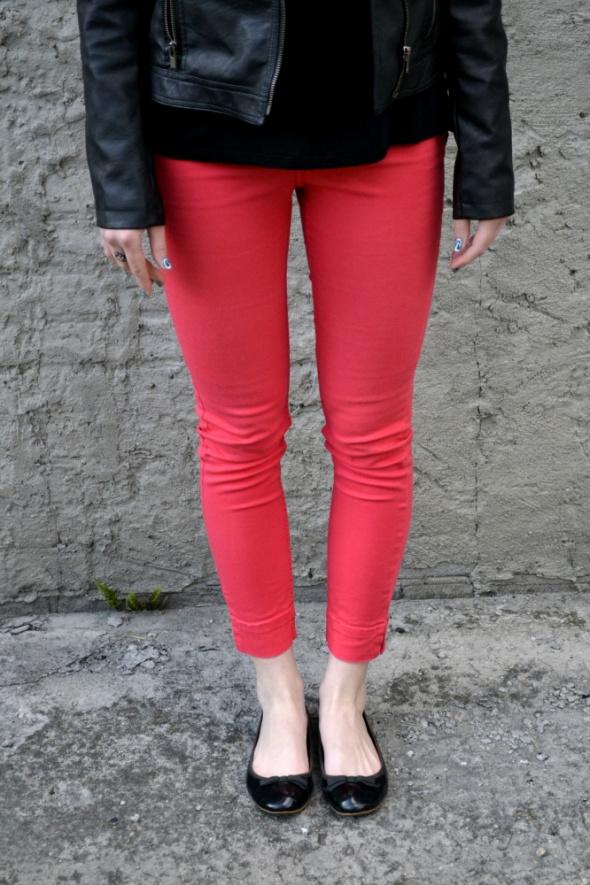 Hm spodnie czerwone rurki czerwone r 38