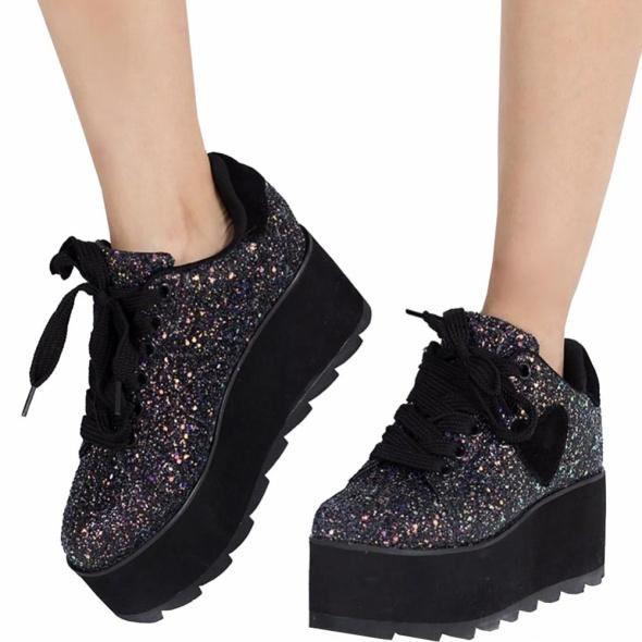 Koturny buty na platformie brokatowe sneakersy