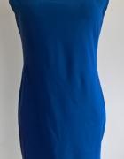 elegancka kobaltowa dopasowana sukienka...
