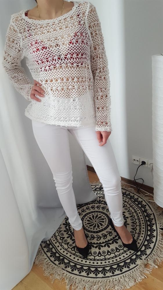 Biały ażurowy koronkowy sweter S M bluza