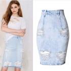 Spódnica jeansowa z dziurami