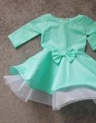 miętowa sukienka w kropki
