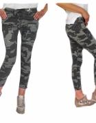Włoskie spodnie rurki jeansy moro bojówki xs s m l xl xxl