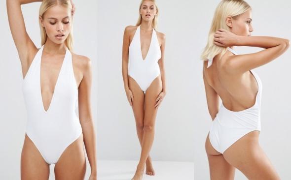 3973a14c219a5a JEdnoczęściowy kostium strój kąpielowy biały w Stroje kąpielowe ...