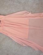 sukienka asymetryczna morelowa