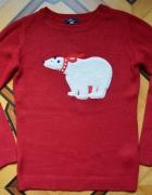Czerwony sweterek miś polarny S M House