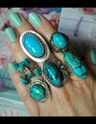 stary srebrny pierścionek Navajo turkus
