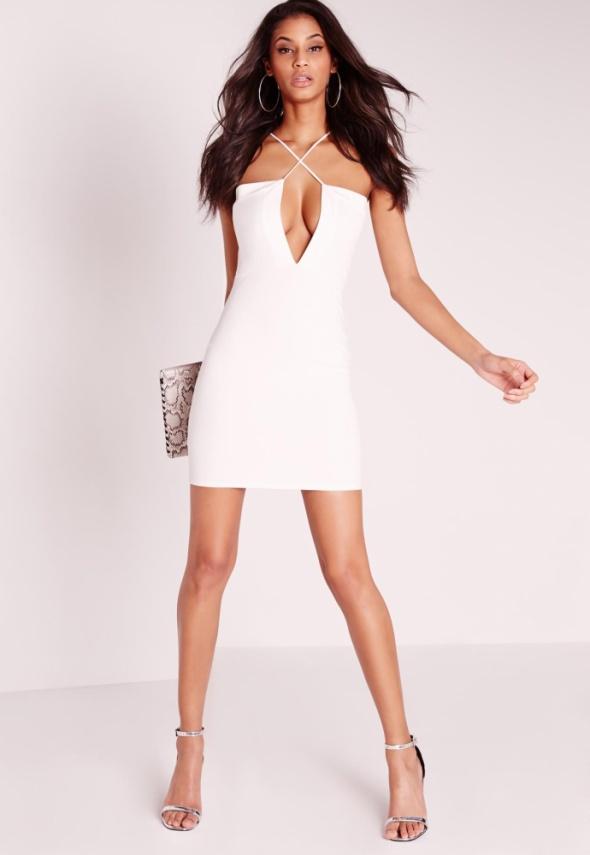 3081dfd104 Suknie i sukienki Nowa biała ołówkowa sukienka duży dekolt paski Missguided  xs s