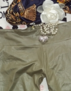Legginsy Latex Khaki Gold Zip M 38