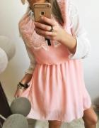 Elegancka sukienka Damska pudrowa gipura M