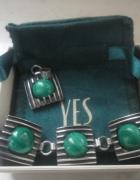 Piękny komplet srebrnej bużuterii z malachitem YES 34 gr