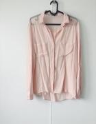Bershka pastelowa różowa koszula asymetryczna transparentne wst...