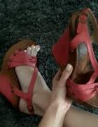 Buty sandały platforma różowe lekkie 38