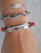srebrna bransoletka z koralowcem